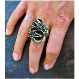 "White bronze ring ""arbre pod"""
