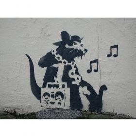 Bâche Banksy \'\'Music Rat\'\'