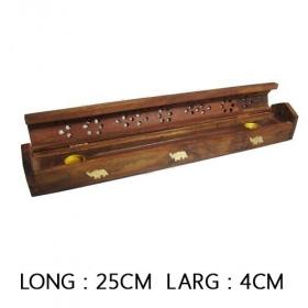 Boite porte encens en bois 25cm