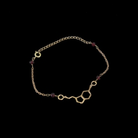 """Bracelet en laiton \""""Joie\"""", Molécule Serotonine"""