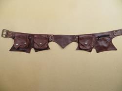 "Ceinture poche en cuir \""lutin\"", marron taille unique"