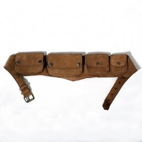 Ceinture poche MB2 en cuir Camel uni