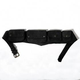 Ceinture poche MB2 en cuir Noir uni