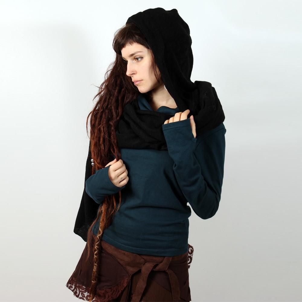 echarpe capuche witch kalika noir femme accessoires echarpes keffiers. Black Bedroom Furniture Sets. Home Design Ideas