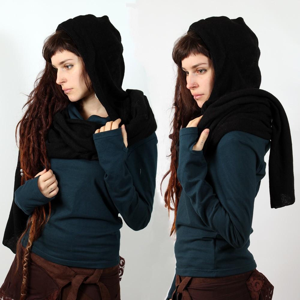 echarpe capuche witch walika kaki femme accessoires echarpes keffiers. Black Bedroom Furniture Sets. Home Design Ideas