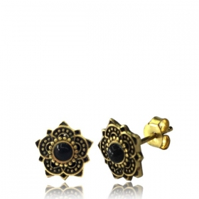 """Enakshi Onyx\"" Brass earrings"