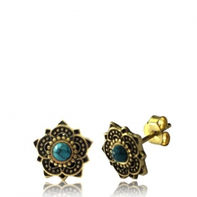 """Enakshi Turquoise\"" Brass earrings"