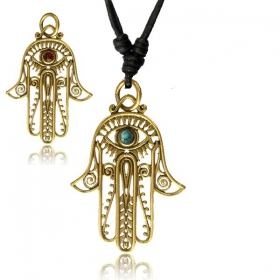 """Fatma\'s hand Haath\"" brass necklace"