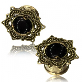 """Flower Onyx\"" brass plug"