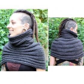 """Jungle therapy snood \""""mini poncho\"""", gris taille unique"""