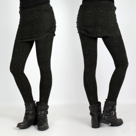 "Legging long Psylo \""Isis\"", Noir Kaki"