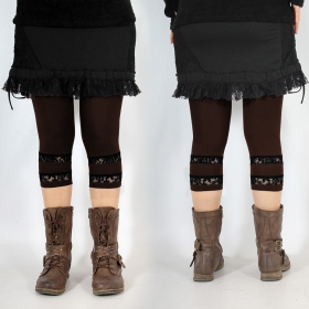 """Legging Yggdrazil \""""L�-Noe�\"""", Marron dentelle noir"""