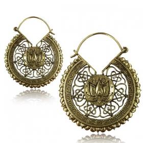 "\""Lotus mandala\"" brass earring"