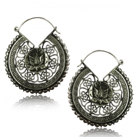 """Lotus Mandala Pali\"" White brass earrings"