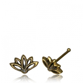 """Lotus Terya\"" brass nose stud"