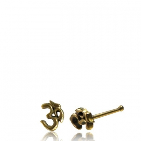 """Ohm\"" brass nose stud"