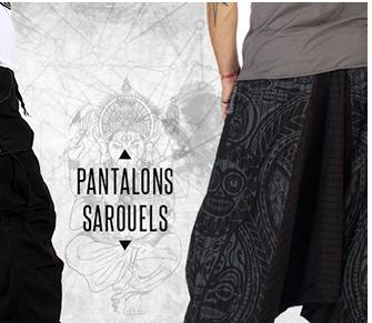 Pantalon homme noir molecule avec poches sur le c�t� et sarouel gris en coton organique, imprim� ethnique.