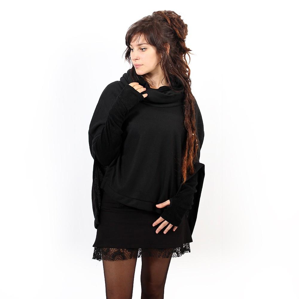 Poncho ingena noir taille unique femme poncho cape - Poncho femme noir ...