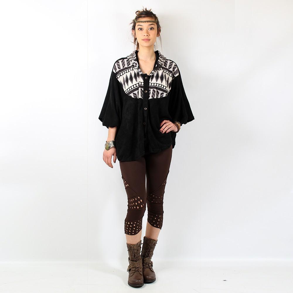 Poncho kamboja noir motif1 taille unique femme - Poncho femme noir ...