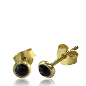 """Saral Onyx\"" Brass earrings"