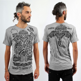 T-shirt \'\'Ganesh Tribal\'\', Gris clair