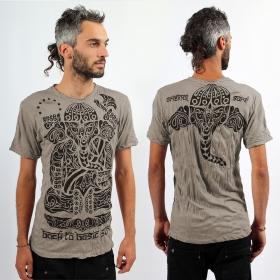 T-shirt \'\'Ganesh tribal\'\', Gris taupe
