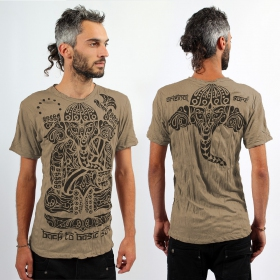 T-shirt \'\'Ganesh tribal\'\', Marron clair