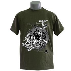 """T-shirt \""""sound sea stem\'\"""", kaki"""