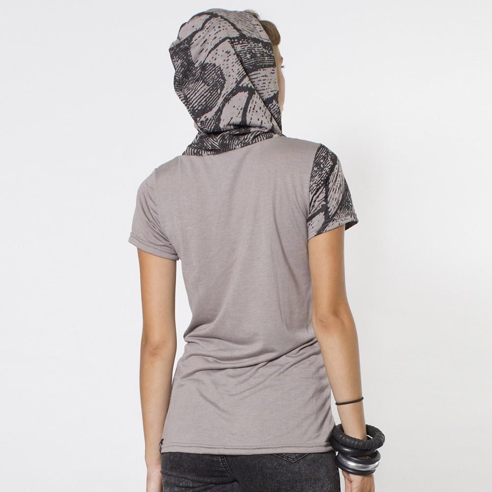 t shirt capuche plazmalab papillo marron gris. Black Bedroom Furniture Sets. Home Design Ideas