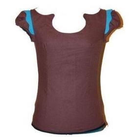 T shirt col om�ga marron et bleu