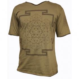 T-shirt flower of life, marron