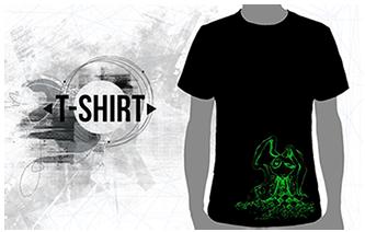 T-Shirt noir PlazmaLab s�rigraphi� lapin vert fluo