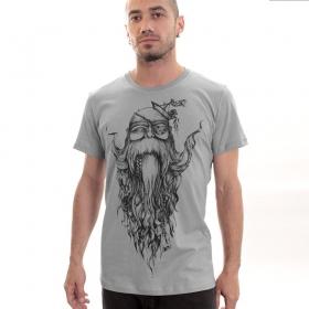 "T-shirt PlazmaLab \""Beardo\"", Gris clair"