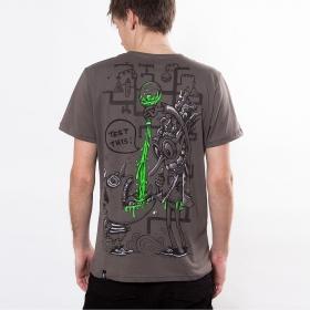 "T-shirt PlazmaLab \""Test this\"", Marron clair"