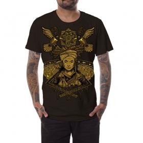 "T-shirt PlazmaLab Boom \""A shaman\"", Marron foncé"