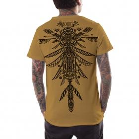 "T-shirt PlazmaLab Boom \""Ambi feathers\"", Moutarde"
