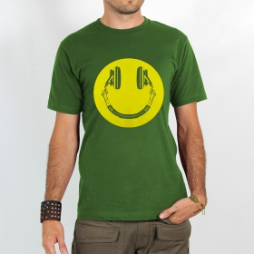 "T-shirt Rocky ""Headphone smiley\"", Vert"