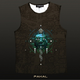 """T-shirt sans manches Yacxilan \""""Pakal\"""", Chocolat"""