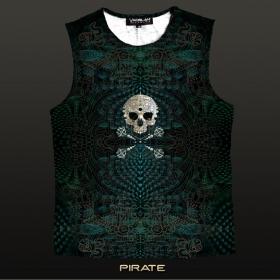 "T-shirt sans manches Yacxilan \""Pirate\"", Turquoise foncé"