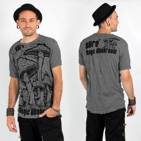 "T-shirt Sure ""Magic mushroom\"", Gris"