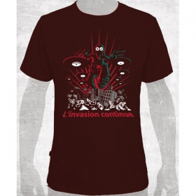 "T-shirt toonzshop ""l\'invasion continue\"", marron"
