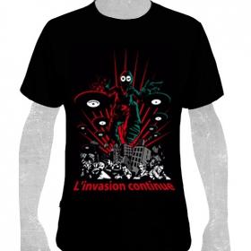 """T-shirt toonzshop \""""l\'invasion continue\"""", noir"""