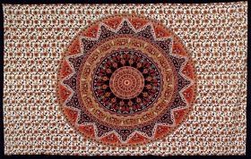 Tenture \'\'Mandala flower\'\', Orange