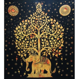 "Tenture \""Elephant\"", Jaune 2,10m x 2,40m"