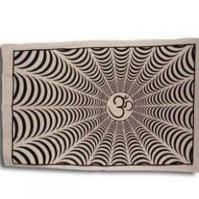 "Tenture \""om psyche\"" noire et blanche, 1,40 x 2,20 m"