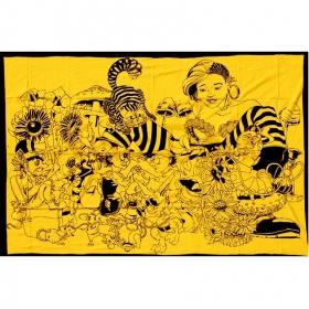 Tenture alice aux pays des merveilles jaune 1.40m x 2.20m