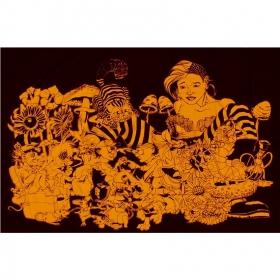 Tenture alice aux pays des merveilles noir/orange 1.40m x 2.20m