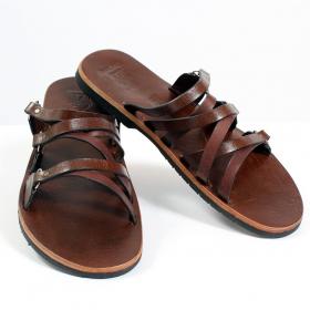 tong en cuir pusha marron fonc taille 36 femme chaussures sandales bottes. Black Bedroom Furniture Sets. Home Design Ideas