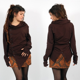 "Top long asymétrique Witch ""Khanya\"", Marron"
