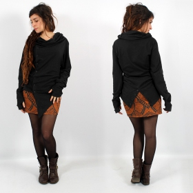 "Top long asymétrique Witch ""Khanya\"", Noir"